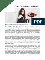 Situs Judi Poker Online Resmi Berlisensi