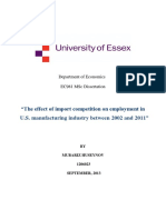 The Effect of Import Competition on Employment in U.S. Manufacturing Industry Between 2002 and 2011