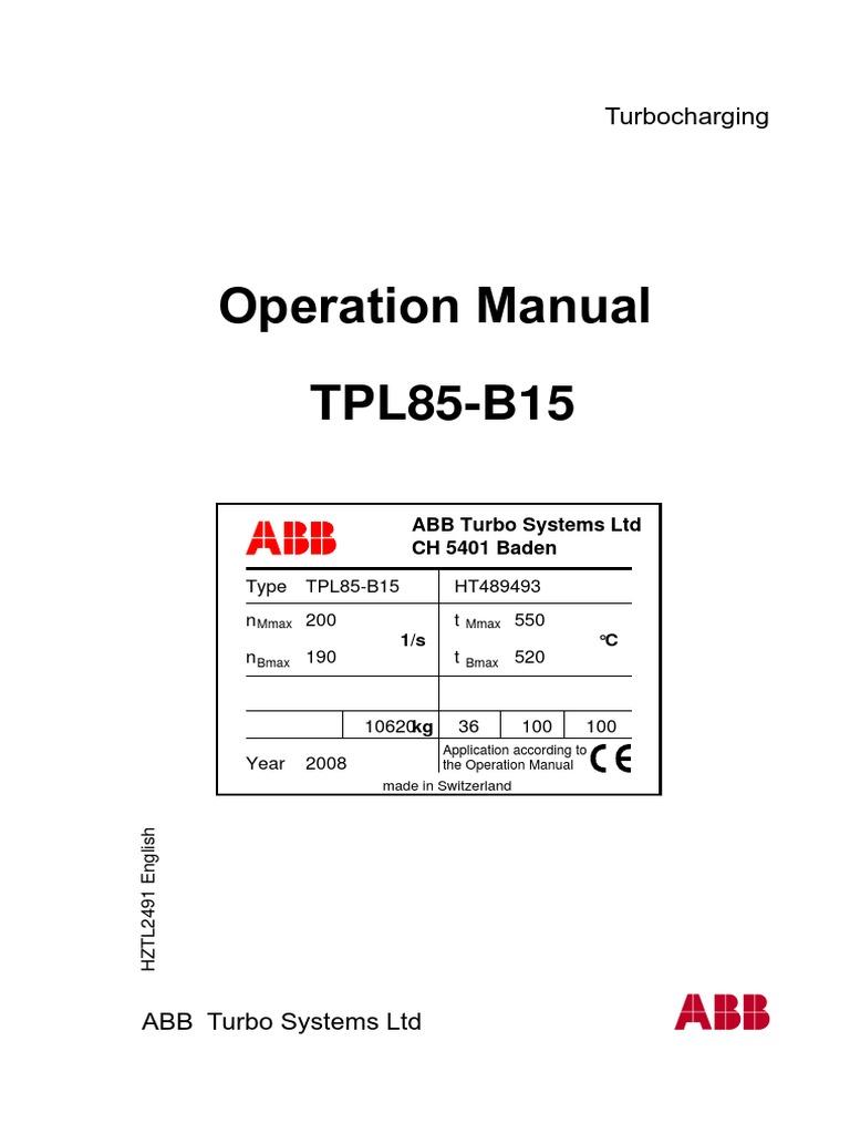 abb turbocharger turbocharger turbine rh scribd com abb turbocharger operation manual abb turbocharger maintenance manual