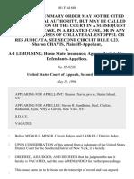 Sharon Chavis v. A-1 Limousine Home State Insurance Agency Rent-A-Car, 101 F.3d 686, 2d Cir. (1996)