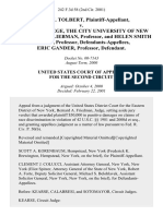 Derek I. Tolbert v. Queens College, the City University of New York, Stuart Liebman, Professor, and Helen Smith Cairns, Professor, Eric Gander, Professor, 242 F.3d 58, 2d Cir. (2001)