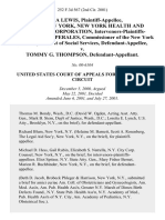 Linda Lewis, City of New York, New York Health and Hospitals Corporation, Intervenors-Plaintiffs-Appellees, Cesar Perales, Commissioner of the New York State Department of Social Services v. Tommy G. Thompson, 252 F.3d 567, 2d Cir. (2001)