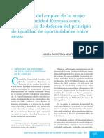 POSTGRADO GENERO. POLITICA de EMPLEO COMUNITARIA. Somento Del Empleo Femenino en La UE Como Isntrumento de Defensa de La Igualdad. RMTAS 2007