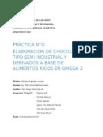 Elaboracion de Chocolate de Tipo Semi Industrial y Derivados a Base de Alimentos Ricos en Omega 3