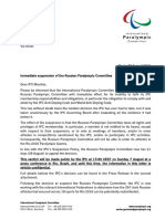 International Paralympic Committee letter banning Russia from Rio Paralympic Games