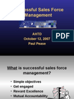 Successful Sales Force Management Paul Pease