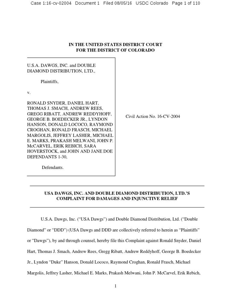 USA Dawgs v. Snyder Complaint | Conspiracy (Civil) | Lawsuit