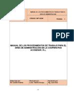 Manual de Los Procedimientos de Trabajo Para El Area de Administracion