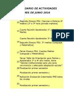 Calendario de Actividades Junio