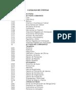 Catálogo de Cuentas Con Código