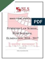 Symbiosis Law School, Pune - Internal Elimination 2016 - 2017 - Rules (1)