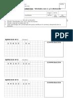 Evaluación Cálculo Division Con 1 y 2 Divisores