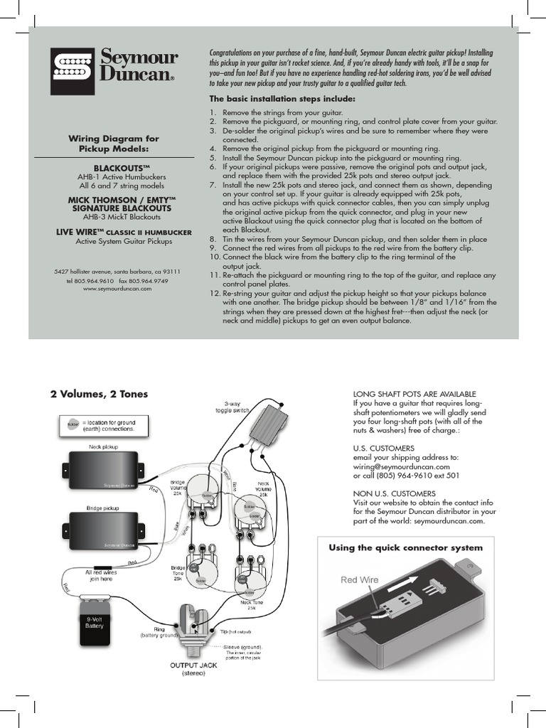 Wiring Diagram For Seymour Duncanpdf Electrical Connector Guitars Humbucker System