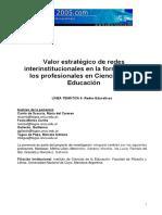 Valor Estrategico de las Redes Interinstitucionales para la Formacion