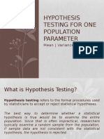 Hypothesis Testing for One Population Parameter