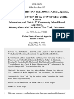Deeper Life Christian Fellowship, Inc. v. Board of Education of the City of New York, Colleen Edmondson, and District 27 Community School Board, Attorney General of the State of New York, Intervenor, 852 F.2d 676, 2d Cir. (1988)