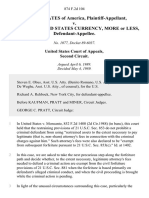 United States v. $876,915.00 United States Currency, More or Less, 874 F.2d 104, 2d Cir. (1989)
