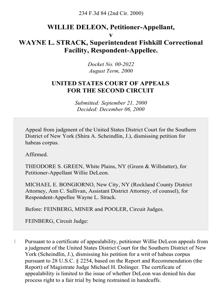 Willie Deleon V Wayne L Strack Superintendent Fishkill 2nd Circuit Correctional Facility 234 F3d 84 2d Cir 2000 Habeas Corpus United States District Court