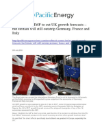 Brexit Causes IMF to Cut UK Growth Forecasts