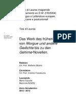 Gottfried Benn.das Werk Des Frühen Benn - Von Morgue Und Andere Gedichte Bis Zu Den Gehirne-Novellen