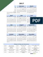 Print Online Calendar 2017