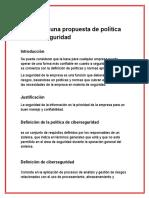 Diseño de Una Propuesta de Política de Ciberseguridad