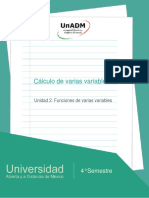 Unidad 2. Funciones de Varias Variables