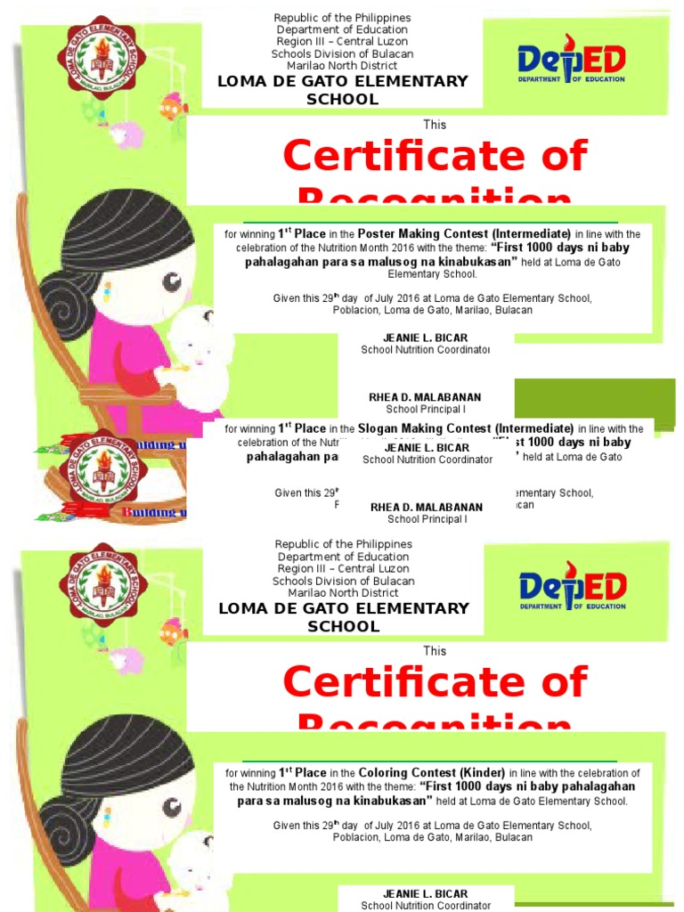 nutrition month certificate docx | Philippines | Further