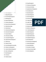 Spcialization List