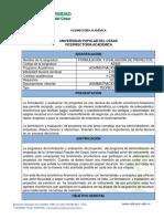 Formulacion y Evaluacion de Proyectos Ae805 Con Nucleos Problemicos