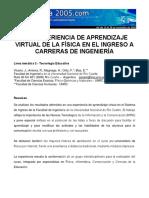 Aprendizaje Virtual de Fisica en Propedeuticos Carreras de Ingenieria