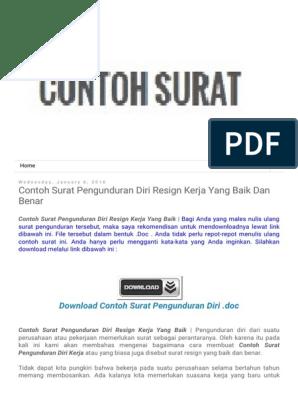 Contoh Surat Contoh Surat Pengunduran Diri Resign Kerja