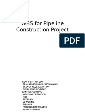 WBS for Pipeline Construction Project | Pipeline Transport | Diesel