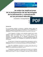 Implicaciones TIC en Procesos Educativos