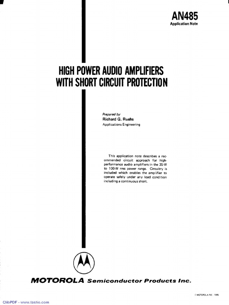 AN485_High Power Audio Amplifiers With Short Circuit Protection