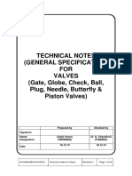 TECHNICAL NOTES (GENERAL SPECIFICATION) FOR VALVES (Gate, Globe, Check, Ball, Plug, Needle, Butterfly & Piston Valves)