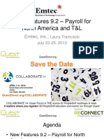 New Features 9.2 Payroll and TL RECONNECT 2013 Emtec Inc