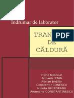 Bazele Transferului de Caldura Si Masa - Indrumar de Laborator