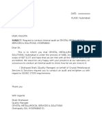 Request Letter for Internal Audit