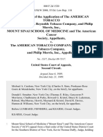 In the Matter of the Application of the American Tobacco Company, R.J. Reynolds Tobacco Company, and Philip Morris, Inc., Mount Sinai School of Medicine and the American Cancer Society v. The American Tobacco Company, R.J. Reynolds Tobacco Company, and Philip Morris, Inc., 880 F.2d 1520, 2d Cir. (1989)