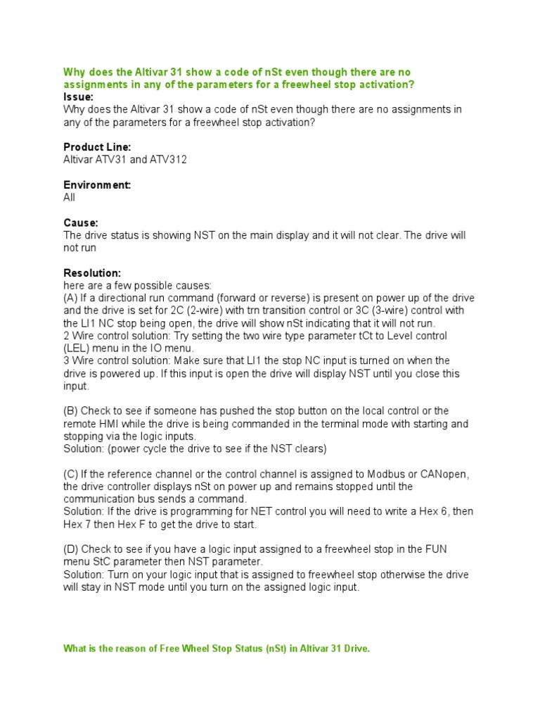Falla Altivar 31 | Parameter (Computer Programming) | Input/Output