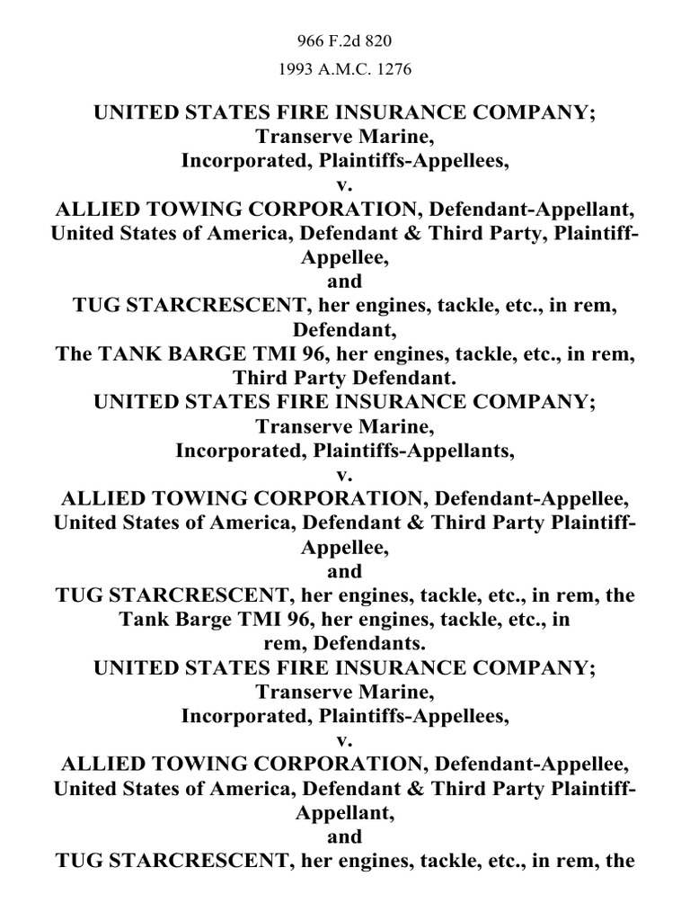 United States Fire Insurance Company Transerve Marine ...