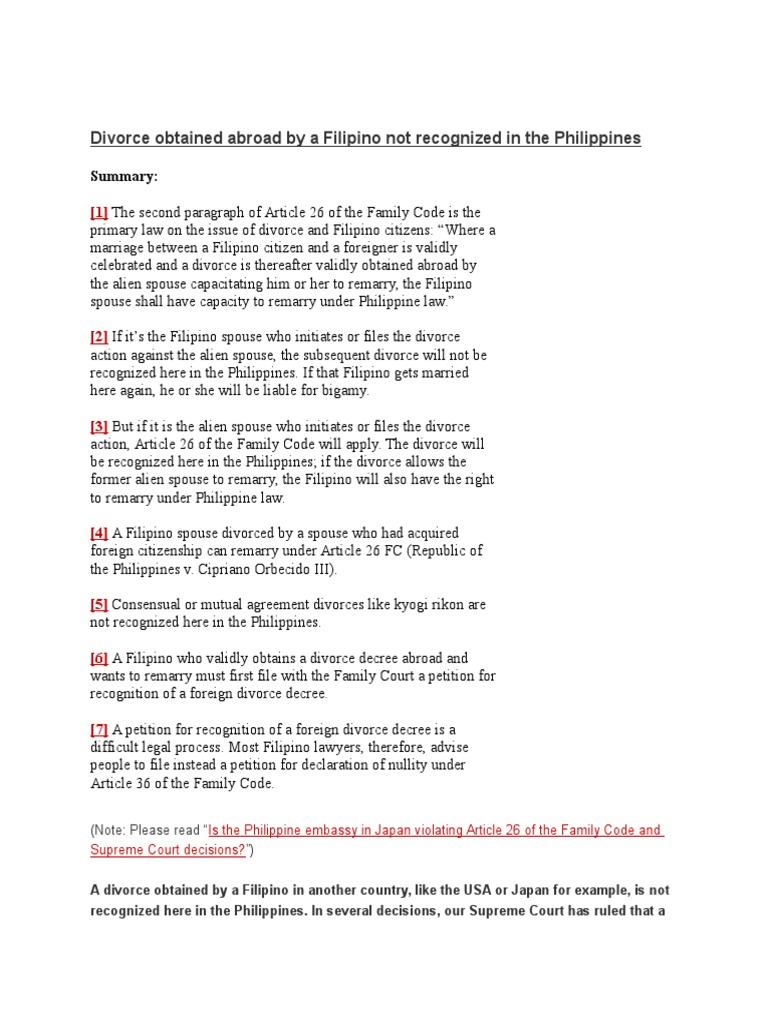 Divorce Obtained Abroad By A Filipino Not Recognized In The