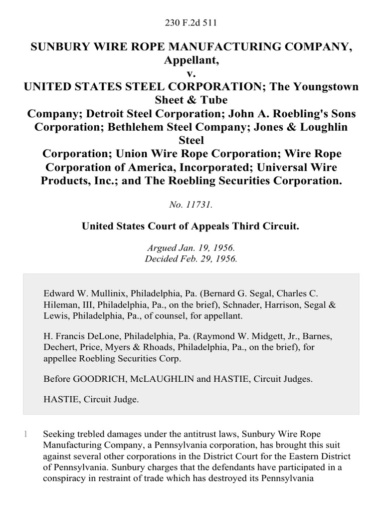 Sunbury Wire Rope Manufacturing Company v. United States Steel ...