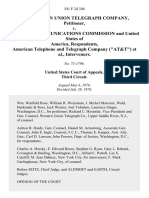 "The Western Union Telegraph Company v. Federal Communications Commission and United States of America, American Telephone and Telegraph Company (""At&t""), Intervenors, 541 F.2d 346, 3rd Cir. (1976)"