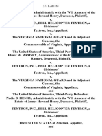 Nadia B. Henry, Administratrix With the Will Annexed of the Estate of James Howard Henry, Deceased v. Textron, Inc., Bell Helicopter Textron, a Division of Textron, Inc. v. The Virginia National Guard and Its Adjutant General, the Commonwealth of Virginia, and the United States of America, Third-Party Elmer W. Ramsey, Administrator of the Estate of Philip R. Ramsey, Deceased v. Textron, Inc., Bell Helicopter Textron, a Division of Textron, Inc. v. The Virginia National Guard and Its Adjutant General, the Commonwealth of Virginia, and the United States of America, Third-Party Nadia B. Henry, Administratrix With the Will Annexed of the Estate of James Howard Henry, Deceased v. Textron, Inc., Bell Helicopter Textron, a Division of Textron, Inc. v. The United States of America, and the Virginia National Guard and Its Adjutant General and the Commonwealth of Virginia, Third-Party Elmer W. Ramsey, Administrator of the Estate of Philip R. Ramsey, Deceased v. Textron, Inc., Bell Helicopter Tex