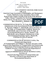 Delaware Valley Citizens' Council for Clean Air, American Lung Association of Philadelphia, and Montgomery County, Delchester Lung Association, Sierra Club, Pennsylvania Chapter Friends of the Earth of the Delaware Valley, Citizens' Committee for Environmental Control, Quinn, Kevin, Farrell, Kaysi, Weiss, Ruth G. Klinkner, John, Biez, Elizabeth S., Shulman, Mona v. Commonwealth of Pa., & Train, Russell, E., Ind. & as Administrator of the Environmental Protection Agency, Sherlock, William T., Individually and as Secretary of the Pa Dept. Of Transportation, Goddard, Maurice K., Individually and as Secretary of the Pa Dept. Of Environmental Resources, Snyder, Daniel J., Iii, Individually and as Regional Administrator of the Environmental Protection Agency, Region Iii. United States of America v. Commonwealth of Pennsylvania the Pennsylvania Department of Transportation and William T. Sherlock, Secretary of the Pennsylvania Department of Transportation the Pennsylvania Department of Enviro