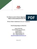 To trust or not to trust - opportunités et risques en matière de planification successorale internationale (AIJA 45ème Congrès Toronto 21-25 août 2007)