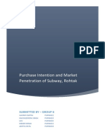 Purchase Intention and Market Penetration, Subway