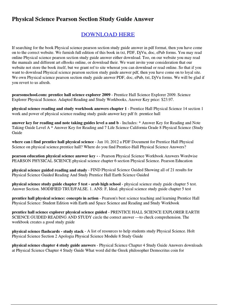 worksheet Pearson Education Worksheets pearson education worksheet answer  keys 320647605 physical science section study guide pdf